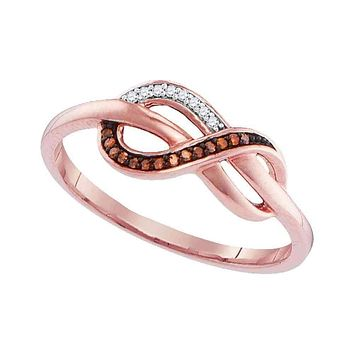 10k Rose Gold Women's Red Diamond Infinity Ring - FREE Shipping (US/CA)