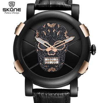 Unique Pirate Skeleton Skull Quartz Men Watches Luxury Waterproof Leather Men Sports Watch