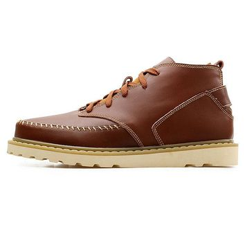 Men's Stylish Leather Splicing Ankle Lace Up Warm Boots