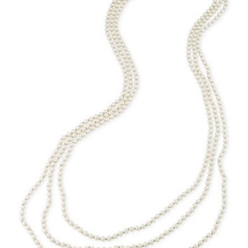 Carolee Silver-Tone Imitation Pearl Triple Row Necklace