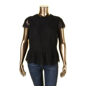 Lauren Ralph Lauren Womens Adalia Lace Soutache Peplum Top
