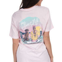 Lauren James Short Sleeve Tee- The Sweet Life Dock of the Bay- Pink- FINAL SALE