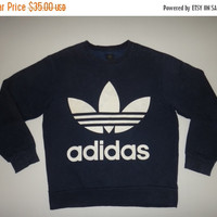 New Year Sale ADIDAS Double Side Big Logo Sweater Vintage Pullover Jumper Adidas Tennis Hip Hop Swag Good Condition Size Large