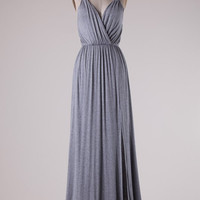 Solid Maxi Dress with Braided Straps - Gray