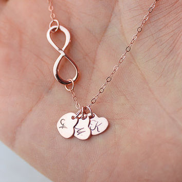 Personalized Infinity necklace. initials rose gold Necklace. three heart Jewelry. Mom,Sister,Wife,Bridesmaid Gift.