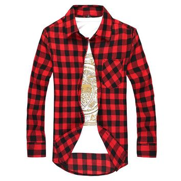 Men Long-sleeved Button Down Casual Plaid Shirt