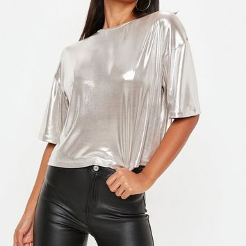Missguided - Silver Metallic Foiled Ribbed Crop Top