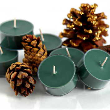 Mountain Pine Scented Soy Tea Light Candles, Green Tea Lights, Pine Candles, Winter Gift,  Stocking Stuffer, Handmade, Choose Your Pack