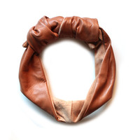 LEATHER TURBAN - TAN from Meg Biram Shop