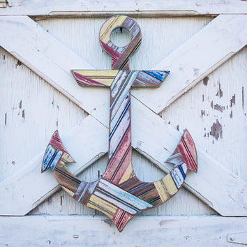 rustic decorative wooden anchor wall hanging cutout nautical decor fisherman office beach lake house beachy antique old lake house sailboat