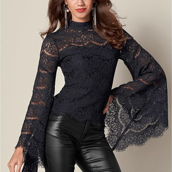 Lace Bell Sleeve Top in Black | VENUS
