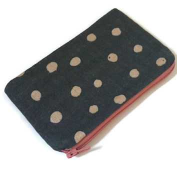 Grey Zipper Pouch - Kokka Zipper Pouch - Small Cosmetic Bag - Makeup Bag - Zipper Wallet - Japanese Fabric - Kokka Metallic - Grey Polka Dot