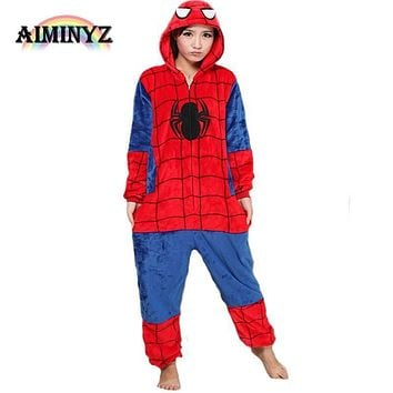 2017 Brand Clothing SpiderMan Unisex Adults Casual Flannel Hooded Pajamas Cosplay Cartoon Animal Onesuits Pyjamas For Women Men