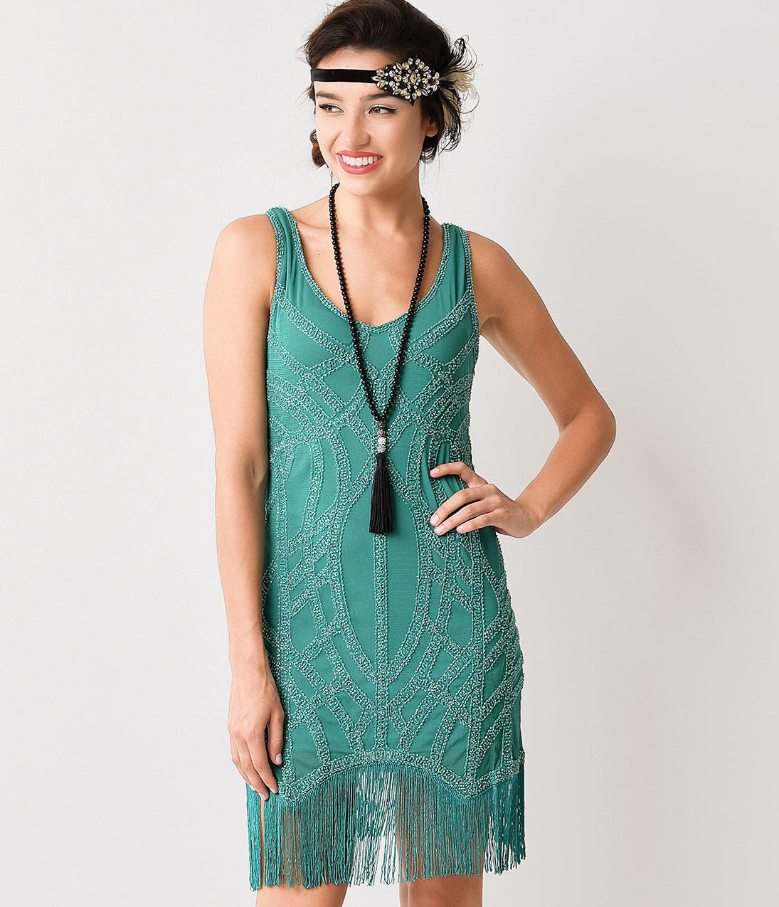 3760e5b0e78 1920s Style Teal Green Beaded Fringe from Unique Vintage