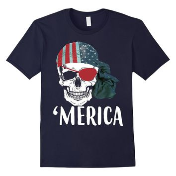 Pirate Skull Flag July 4th Independence Day 'Merica T-Shirt