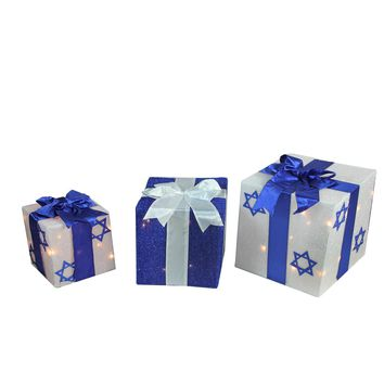 3-Piece Lighted White and Blue Hanukkah Gift Box Christmas Outdoor Decoration Set