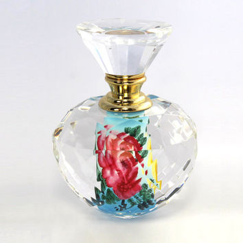 Hand Painted Crystal Perfume Bottle, Round Prism Art Glass, Parfum Bouteille - PBB05-621