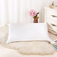 Alaska Bear Natural Silk Pillowcase for Hair & Facial Beauty Queen Standard Size, Ivory White Pillow Shams Cover with Hidden Zipper - Ivory(non-bleached)
