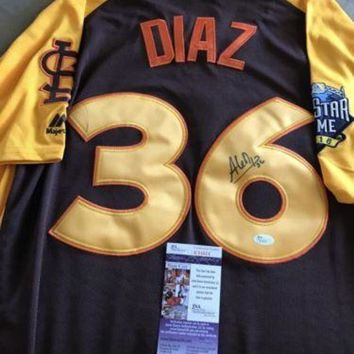 ICIKJNG Aledmys Diaz Signed Autographed St. Louis Cardinals 2016 All-Star Baseball Jersey (JSA COA)