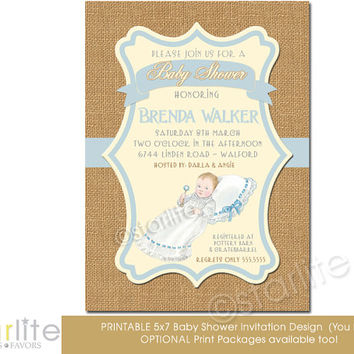 Baby Shower Invitation, vintage baby boy, baby shower - Prince - blue, brown burlap - 5x7 - vintage style unique - Printable - You Print
