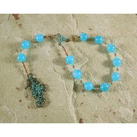 Aegir Pocket Prayer Beads in Aquamarine: Norse God of the Sea, Brewing, and Hospitality