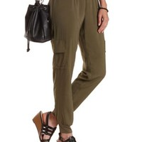 Olive Cargo Jogger Pants by Charlotte Russe