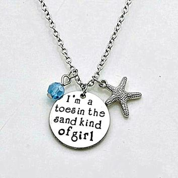 Toes In The Sand Girl Silver Charm Necklace