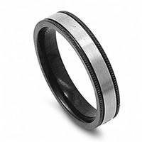 Ryder's Black Stainless Steel Inlay Wedding Band