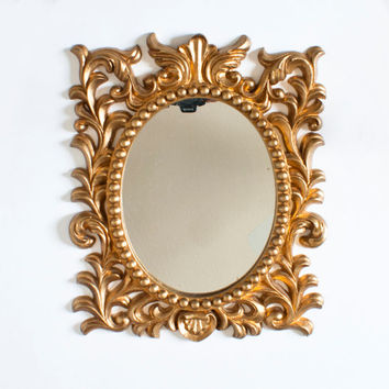 Vintage Gold French Style Mirror, Oval Golden Composite Mirror, Possibly Syrocowood