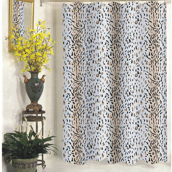 "Wild Selva Panther Design Extra Long Fabric Shower Curtain Size: 70"" x 84"""