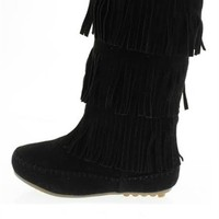 Smoke Signals Fringe Boots in Black