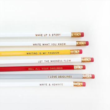 Pencil Set for Writers — 7 Pencils in White, Red, and Gray —Imprinted Pencils, Engraved Pencils, Writer Gift, Kill All Your Darlings