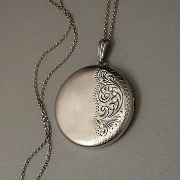 "Vintage STERLING Silver LOCKET Necklace Scrollwork Birmingham England 24"" Sterling CHAIN Signed c.1960's"