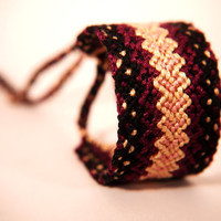 Handwoven Wide Friendship Bracelet Cuff with Central Heart Stripe Pattern in Maroon and Cream