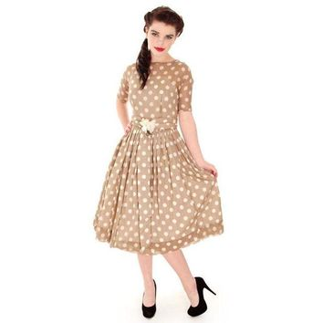 Vintage Taupe Cotton Polka Dot Dress Sheer Overlay 1950s 32-25-Free