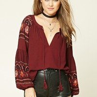 Ornate Floral Print Top