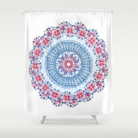 Red, Blue & White Floral Medallion Shower Curtain by Micklyn