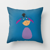 Winnie the Pooh Eeyore Nursery Art Retro Style Minimalist Poster Print Throw Pillow by The Retro Inc