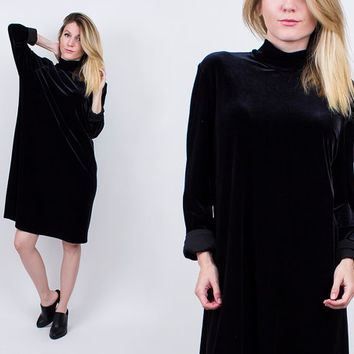 vintage 90s black velvet trapeze dress tent midi turtleneck GRUNGE oversized tunic boho long sleeve skater festival