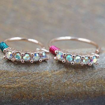 Aurora Borealis Rose Gold Crystal Hoop, Rose Gold Nose Hoop