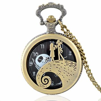 Fashion Tim Burton's The Nightmare Before Christmas Sally Jack Quartz Pocket Watch Necklace Mens Womens Xmas Gift feminino reloj