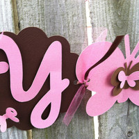 Baby shower banner: brown and pink  banner for girls