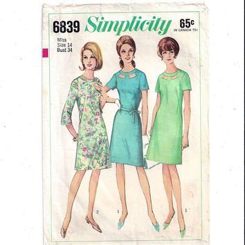 Simplicity 6839 Pattern for Misses' 1 Piece A Line Dress, Size 14, Peek-A-Boo Neckline, From 1966, Vintage Pattern, Home Sewing Pattern