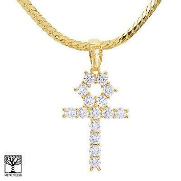 "Jewelry Kay style 14K Gold Plated Iced Stoned Ankh Cross Pendant 20"" Miami Cuban Chain BCH 13108 G"