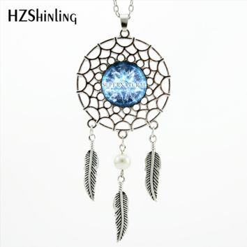 2017 Trendy Style Supernatural Necklace Dreamcatcher Feather Blue Moon Jewelry Supernatural Dream Catcher Necklace NDC-0045