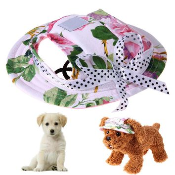 Pet Dog Sun Hat Summer Breathable Mesh Pet Dog Hat Lovely Princess Beach Cap With Ear Hole for Outdoor Travel