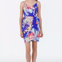 Blue Floral Print Spaghetti Strap Wrapped Dress
