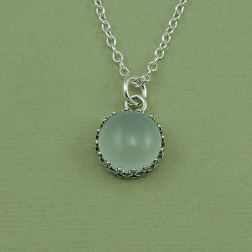 Chalcedony Necklace - sterling silver bezel set chalcedony pendant, gemstone necklace