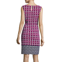 Liz Claiborne® Sleeveless Geo-Print Self-Tie Shift Dress - JCPenney