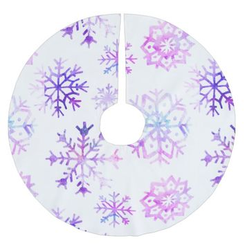 Purple Watercolor Snowflake Christmas Design Brushed Polyester Tree Skirt